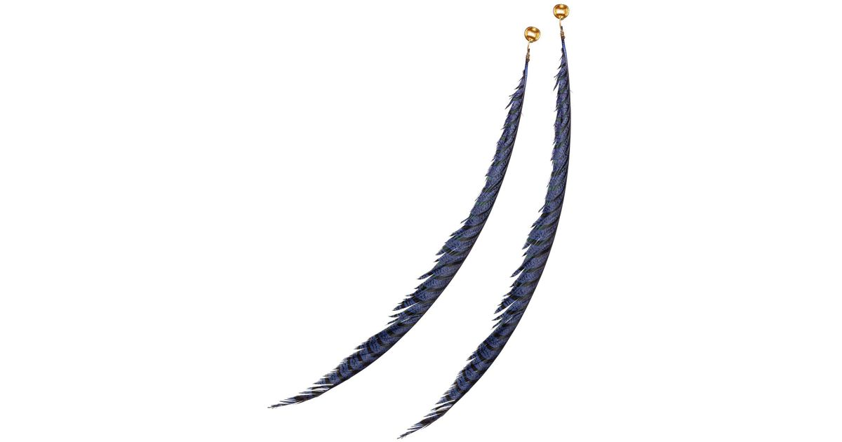 Lyst Marni Monile Clip On Earrings In Metal And Feather In Blue
