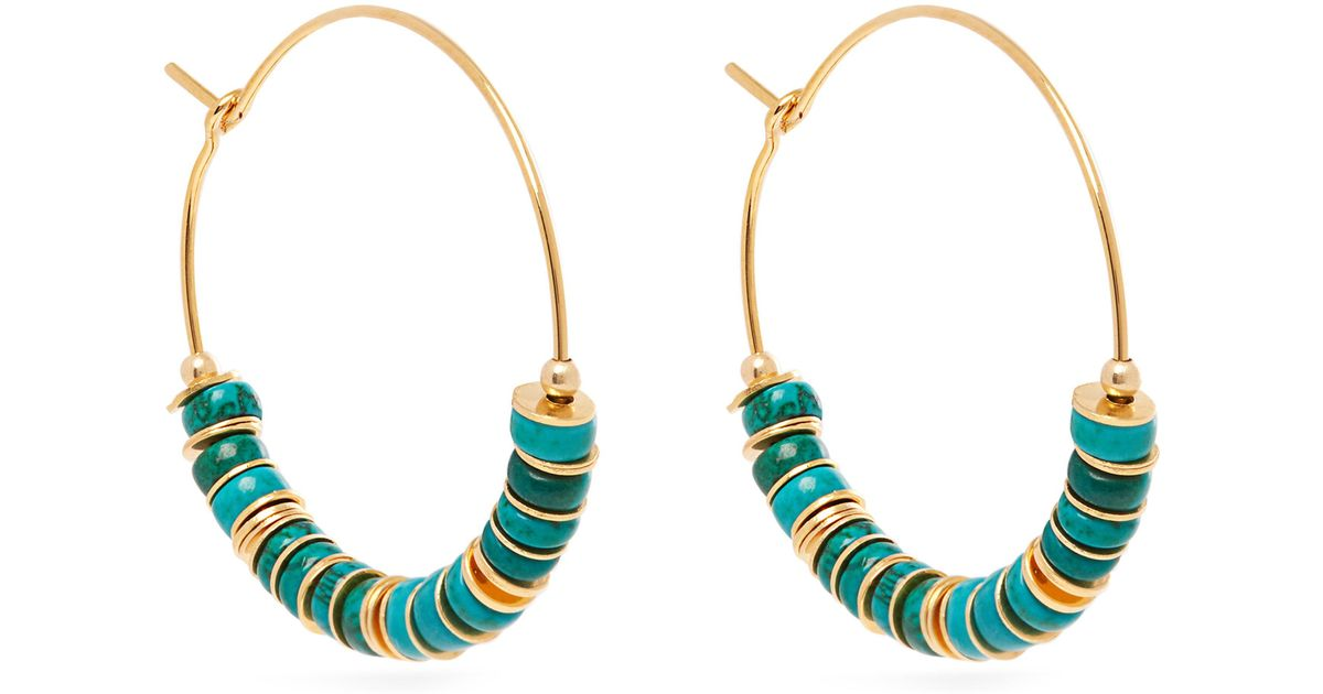 8ff11a5d51397 Elise Tsikis Green Beaded Turquoise And Gold Plated Hoop Earrings