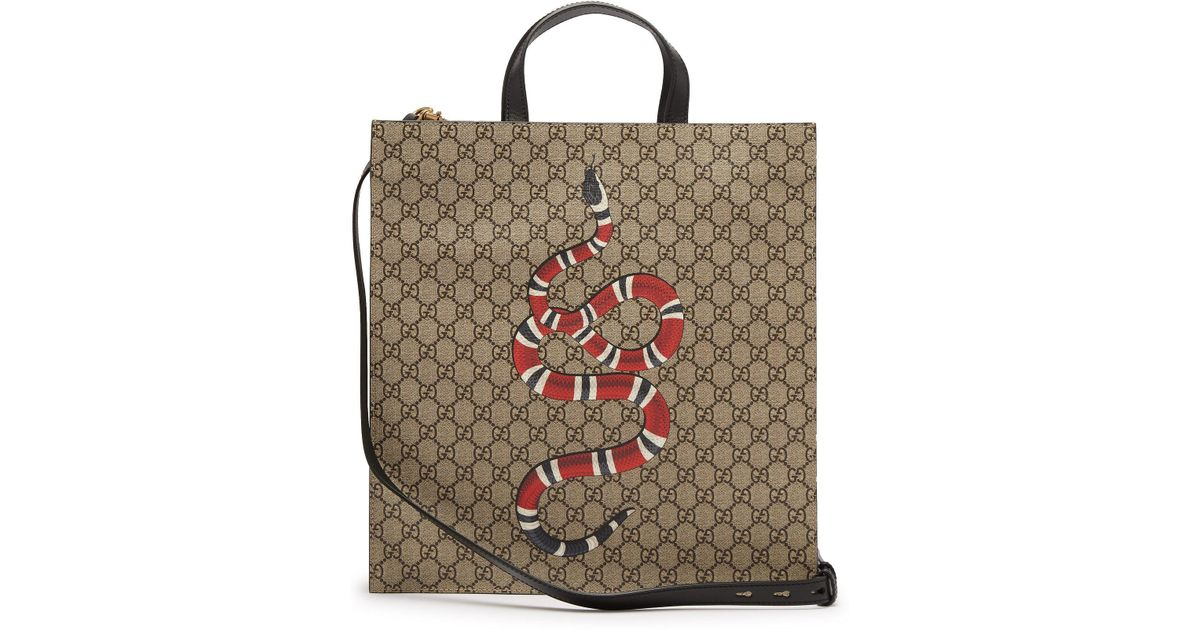 b09efcf4559 Lyst - Gucci Gg Supreme And Kingsnake Print Tote Bag in Natural for Men