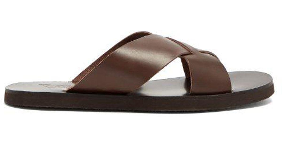 3f8000dfa1c Ancient Greek Sandals - Bios Cross Strap Leather Slides - Mens - Brown for  Men - Lyst