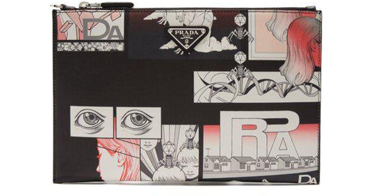 Comic-print leather pouch Prada FjwIfkpv