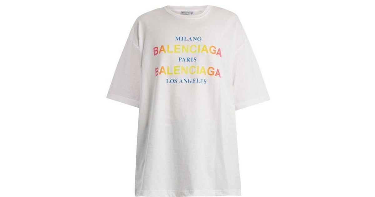2d0c75fc3724 Balenciaga Logo And City-print Cotton T-shirt in White - Lyst
