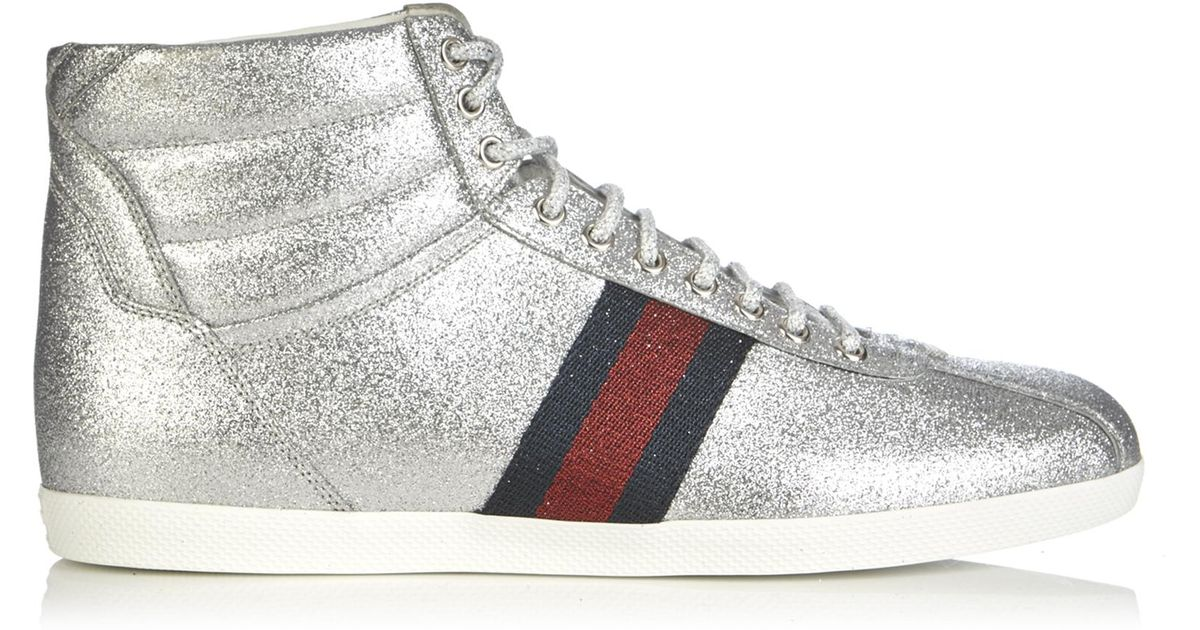 c0b4c5448dd Lyst - Gucci Bambi Glitter High-top Trainers in Metallic for Men
