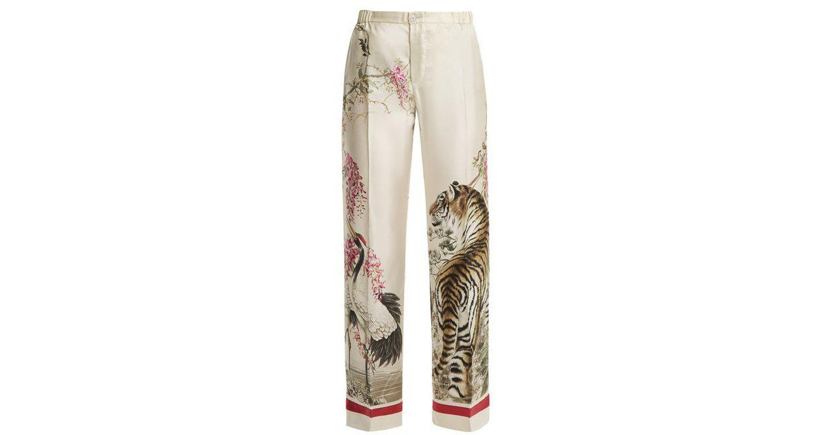 bd56fef855 Lyst - F.R.S For Restless Sleepers Etere Tiger-print Wide-leg Silk Pyjama  Trousers in Natural