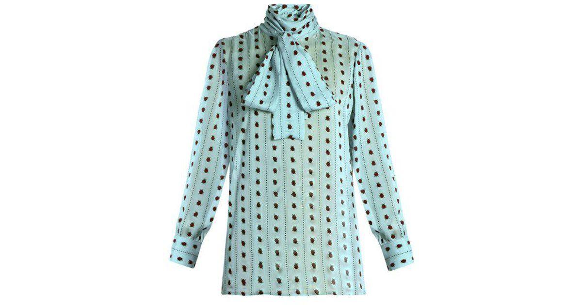 a8d5d13c4293b Lyst - Gucci Ladybird-flocked Long-sleeved Silk Blouse in Blue
