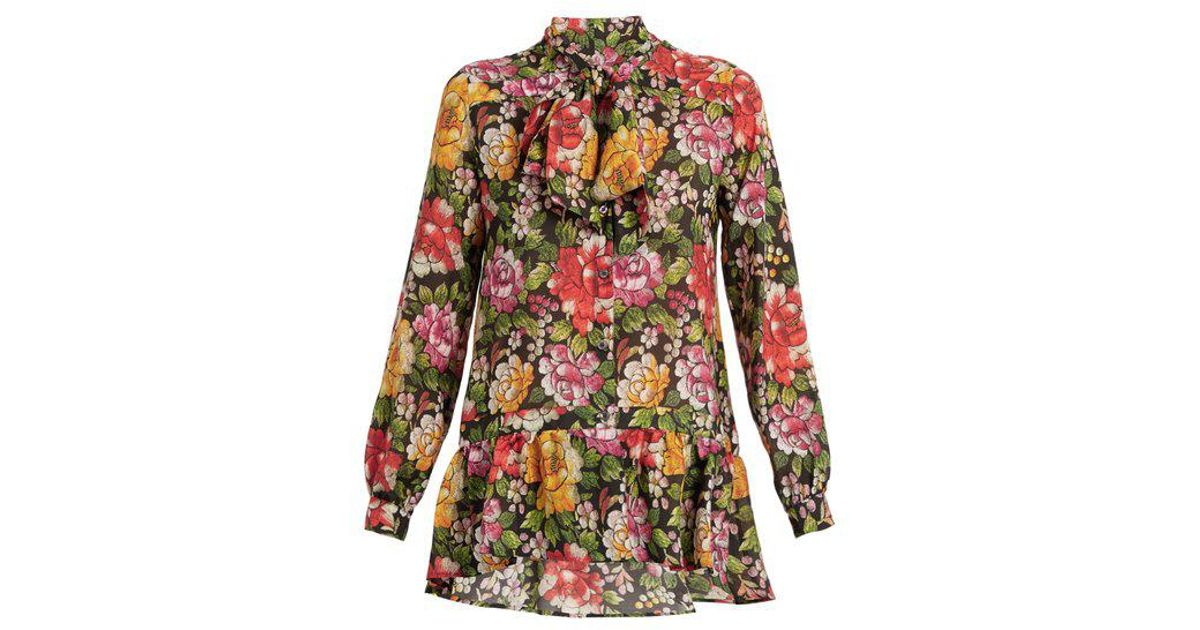 470540ffb1684 Lyst - Etro Frida Floral-print Tie-neck Silk Blouse in Black