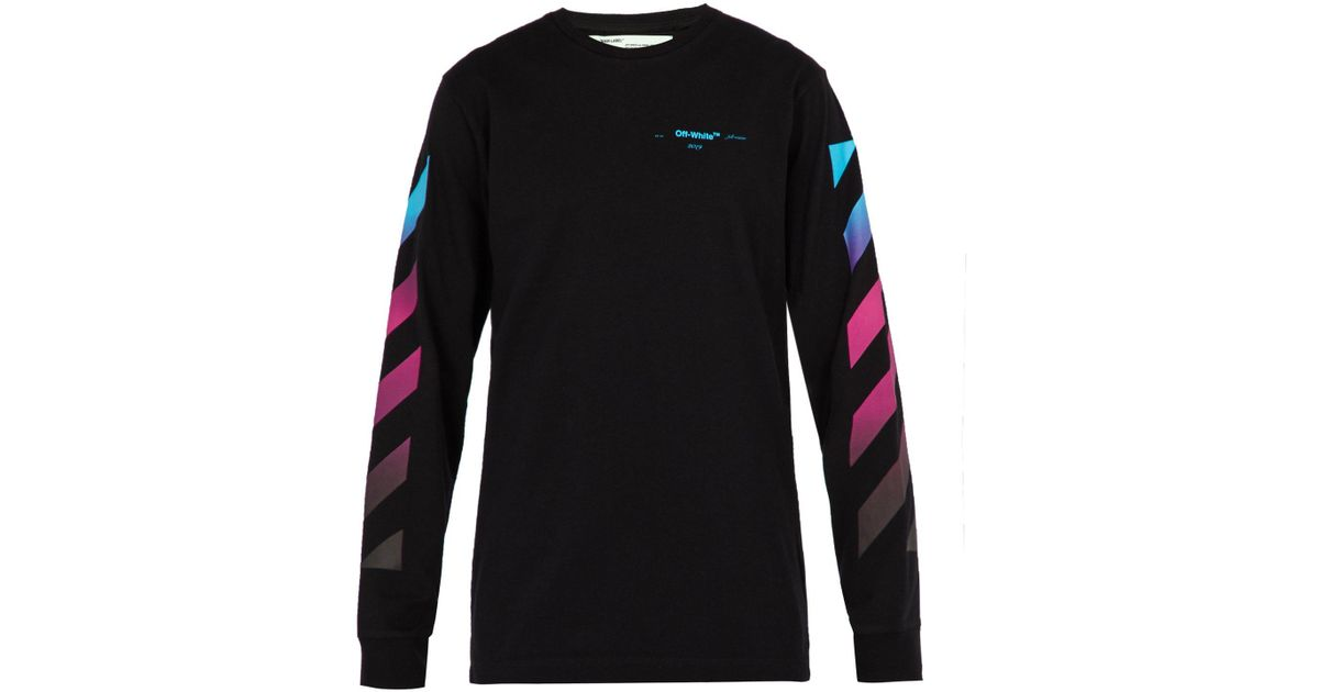 8031ee3a2635 Lyst - Off-White c o Virgil Abloh Diagonal Gradient Long-sleeved Cotton T- shirt in Black for Men