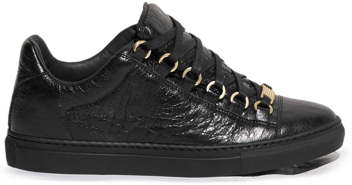 balenciaga arena low top leather trainers in black lyst. Black Bedroom Furniture Sets. Home Design Ideas