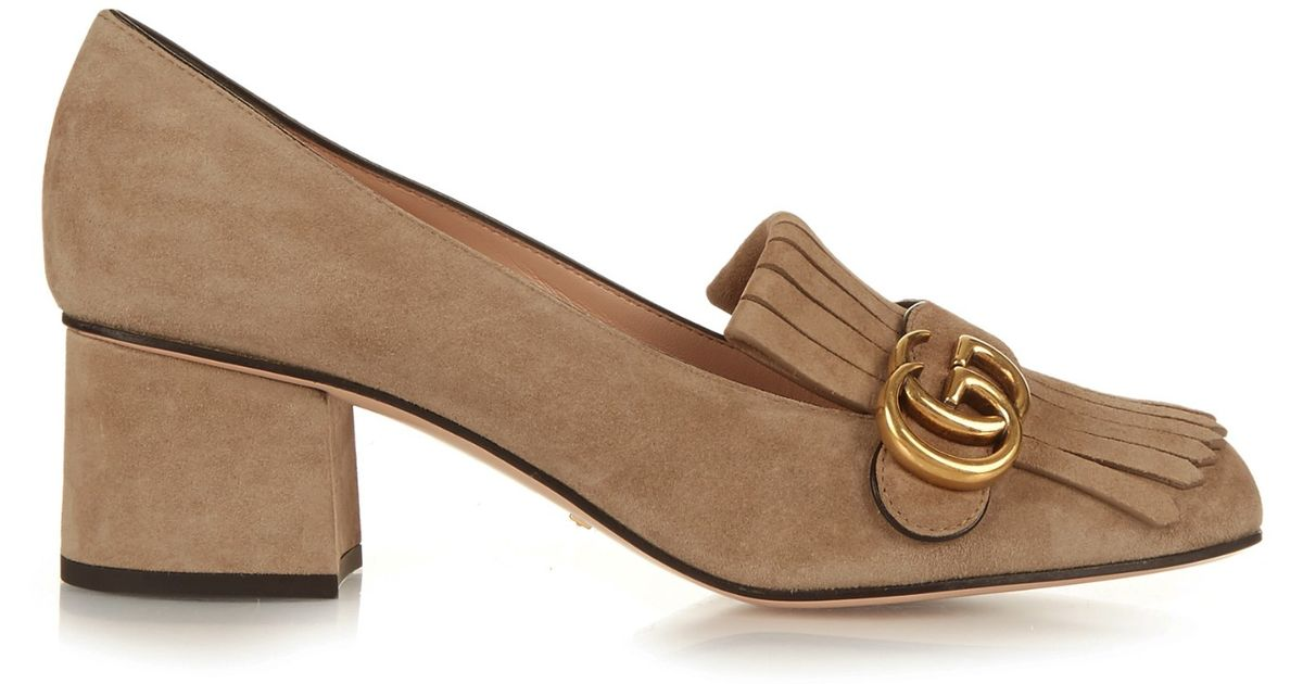 b43d4dc215e Gucci Marmont Fringed Suede Pumps in Brown - Lyst