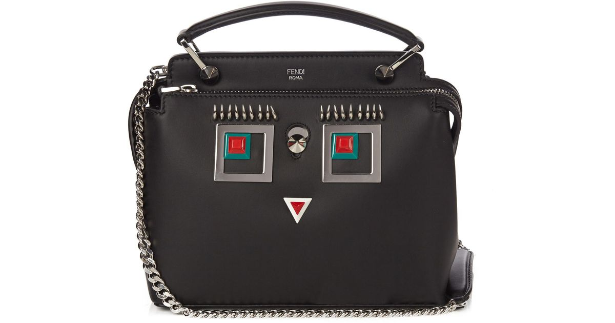 440790ff72 Fendi Dotcom Mini Square Eyes Shoulder Bag in Black - Lyst