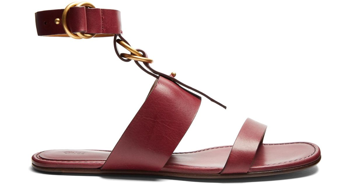8cec750920fa Lyst - Chloé Kingsley Leather Flat Sandals