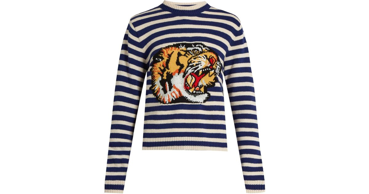 fe3fffa9 Gucci Tiger-appliqué Striped Wool Sweater in Blue - Lyst