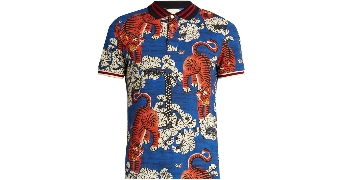 bb9a79a5 Gucci Bengal Print Polo Shirt in Blue for Men - Lyst