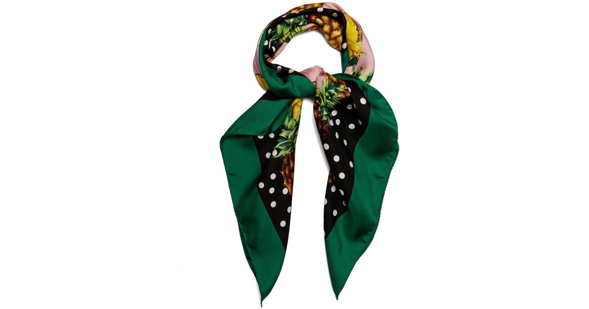 Women's Green Pineapple And Polka-dot Print Silk Scarf