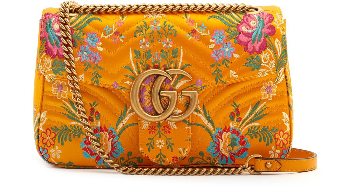 5482dab631dc74 Gucci Gg Marmont Floral-jacquard Shoulder Bag in Yellow - Lyst
