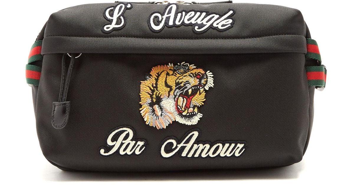 3811a3417fa Gucci Tiger-appliqué Belt Bag in Black for Men - Lyst