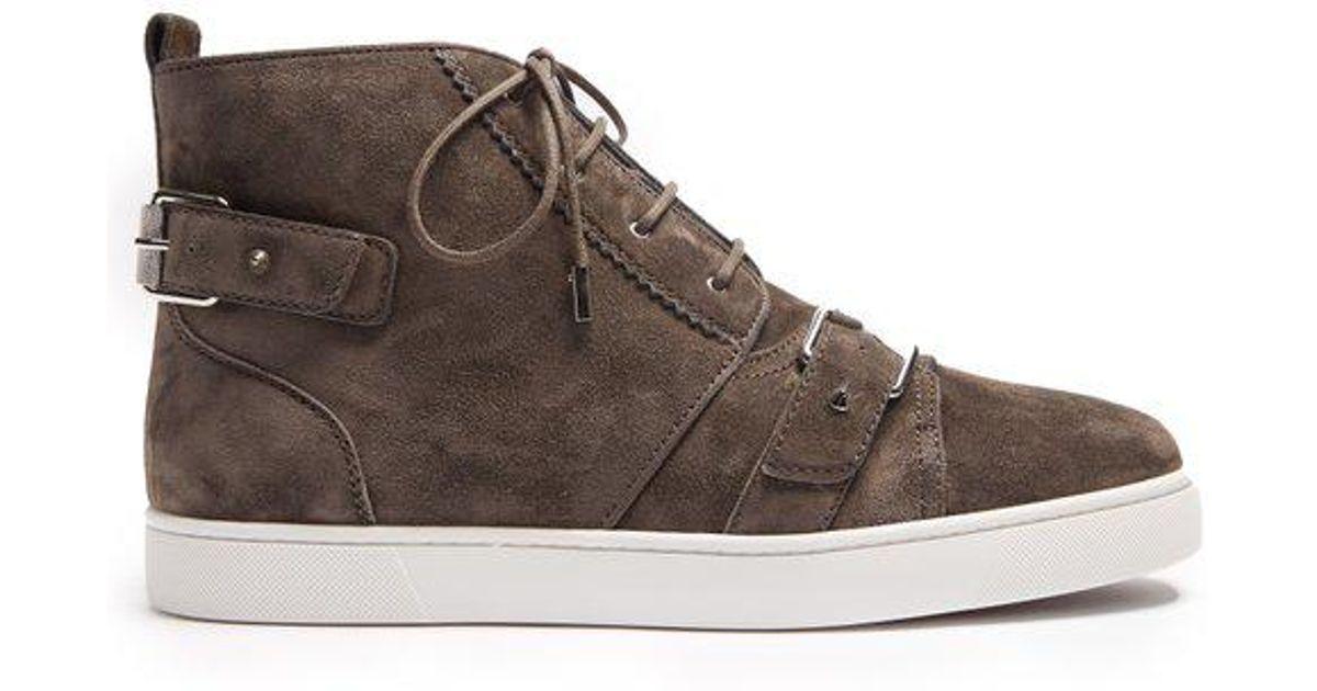 2162687b99da Christian Louboutin Nono Strap Suede Sneakers in Gray for Men - Save 30% -  Lyst