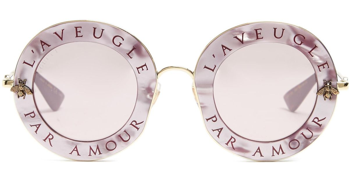 97bf31429028 Lyst - Gucci L aveugle Par Amour Metal Sunglasses in Pink