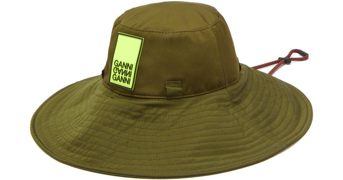 2c055fe578a66e Ganni Azalea Logo Patch Bucket Hat in Green - Lyst