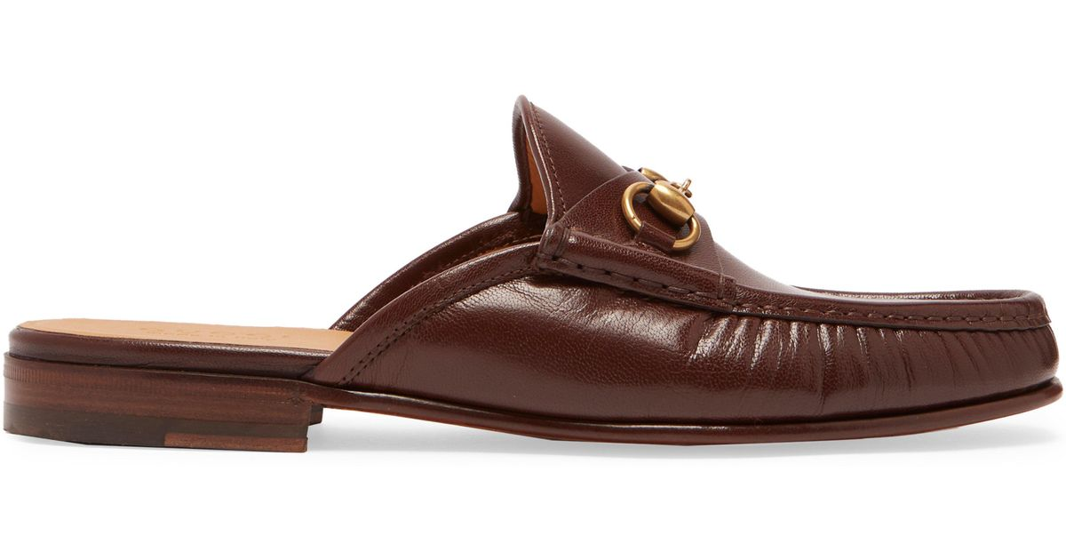 2cdaf06649a Gucci Roos Leather Backless Loafers in Brown for Men - Lyst