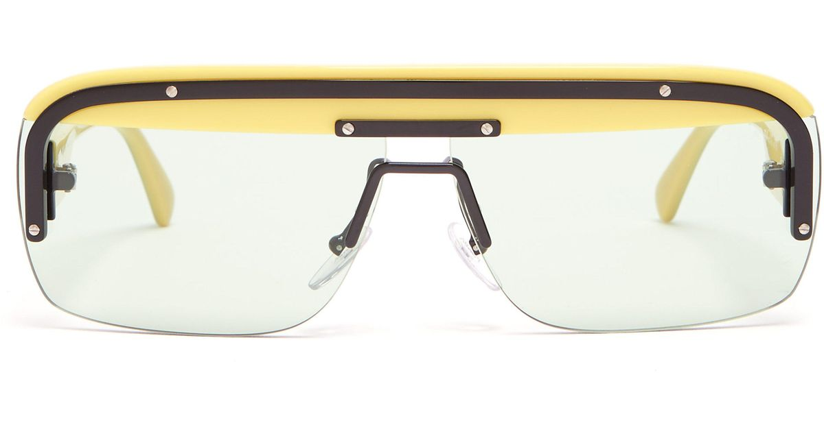 248f0110fb7a Prada Game D Frame Acetate Sunglasses in Yellow for Men - Lyst