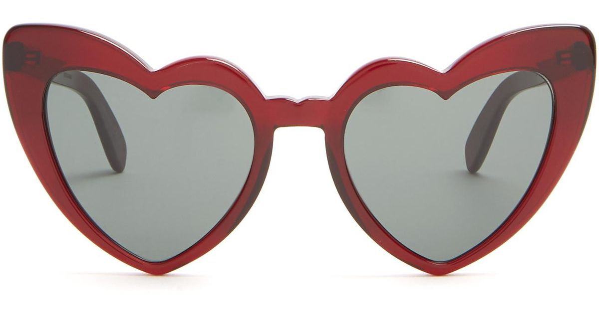 0c6e4944dc5 Saint Laurent Loulou Heart-shaped Acetate Sunglasses - Lyst