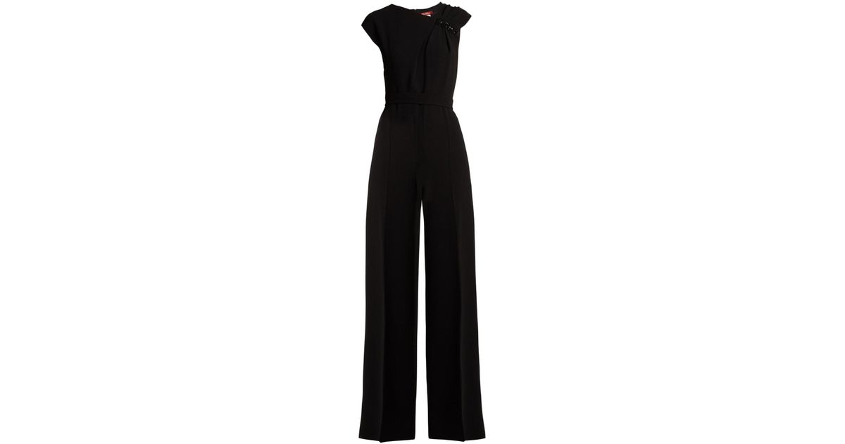 28a67017efb Lyst - Max Mara Studio Crystal Embellished Wide Leg Jumpsuit in Black