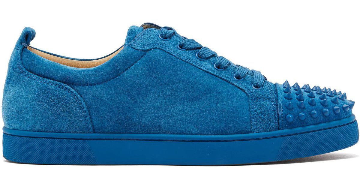 Lyst - Christian Louboutin Louis Junior Spikes Suede Sneaker in Blue for Men 073014952154