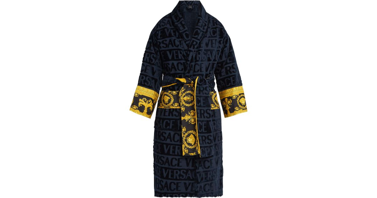 378b148990 Versace Print Panelled Logo Jacquard Cotton Bathrobe in Blue for Men - Lyst