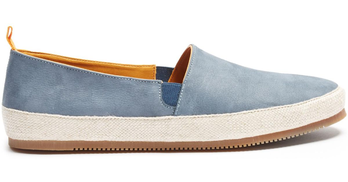 Shearling-lined Suede Slippers - Storm blueMulo