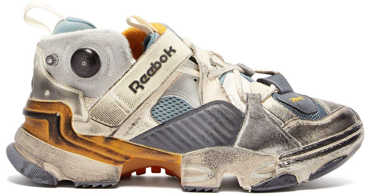 47a4747806fc Lyst - Vetements X Reebok Instapump Low Top Leather Trainers in Gray
