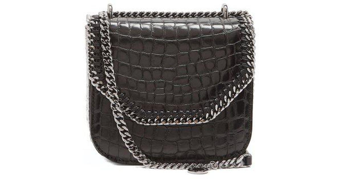 d06b5b5dcc46 Lyst - Stella McCartney Falabella Box Mini Crocodile-effect Shoulder Bag in  Black