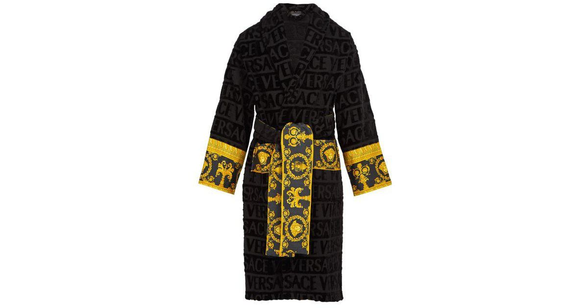 Versace Poplin-panelled Logo-jacquard Cotton-terry Robe in Black for Men -  Save 28% - Lyst 99cd20592