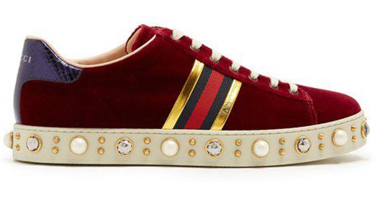 5d0c227bd81 Lyst - Gucci New Ace Faux-pearl Embellished Velvet Trainers in Red