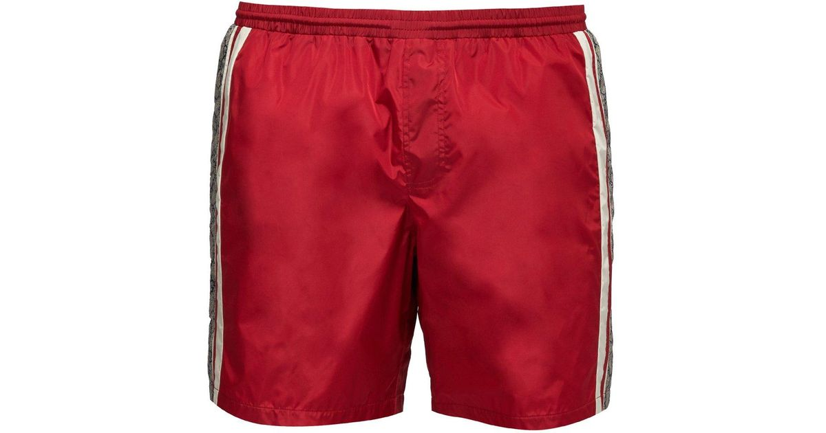 00f0d1ce9385 Lyst Gucci Gg Supreme Logo Swim Shorts In Red For Men Save 25