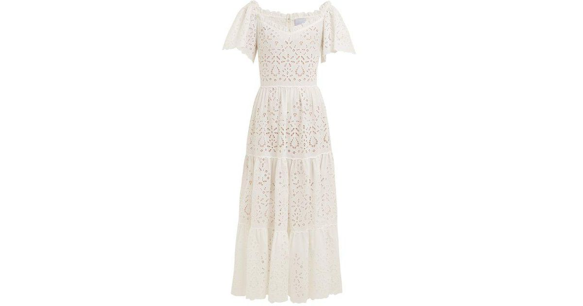 2b1cd32bc085 Luisa Beccaria Eyelet-lace Cotton-blend Dress in White - Lyst