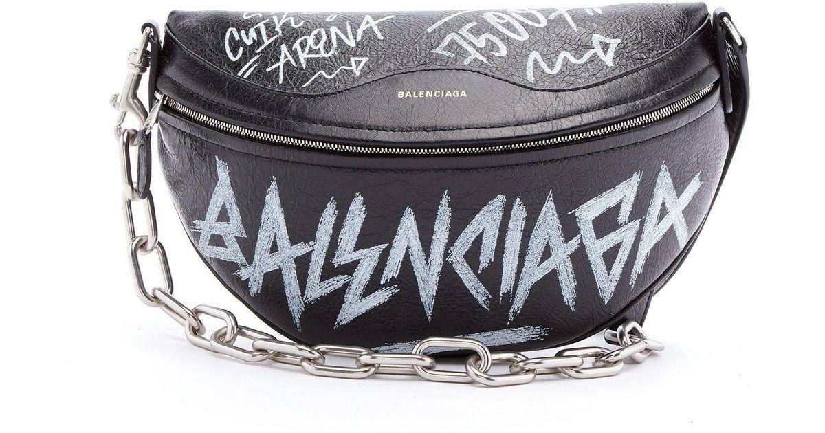 0ed439d0ebe3 Lyst - Balenciaga Souvenir Graffiti Print Leather Bag in Black