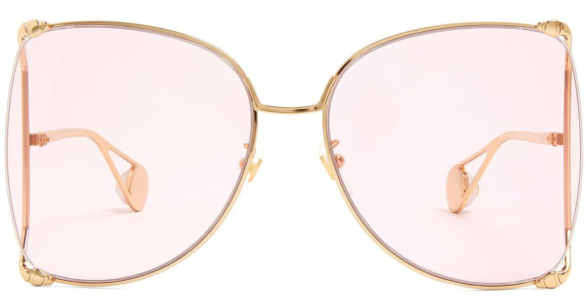 40683260d56 Lyst - Gucci Oversized Butterfly Frame Gg Sunglasses in Pink - Save 35%