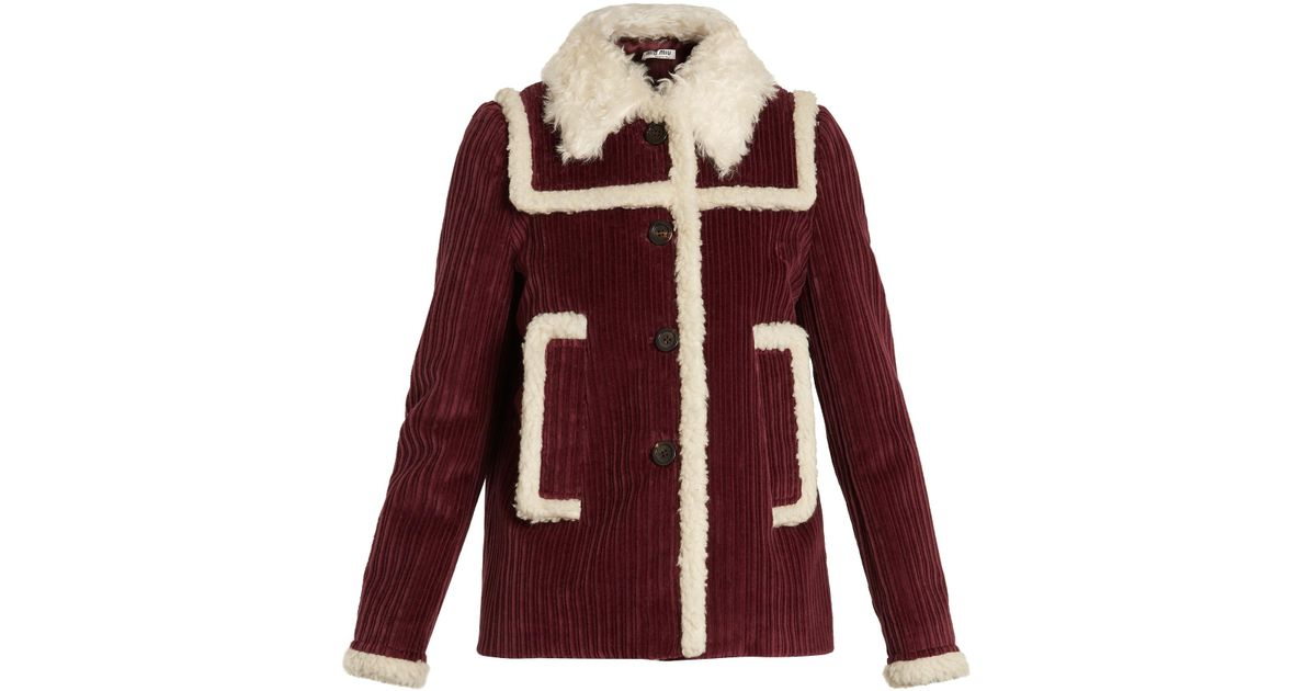 Miu Miu shearling trim coat Buy Cheap Outlet Free Shipping Choice Free Shipping Great Deals Official Site Sale Online 1STGg