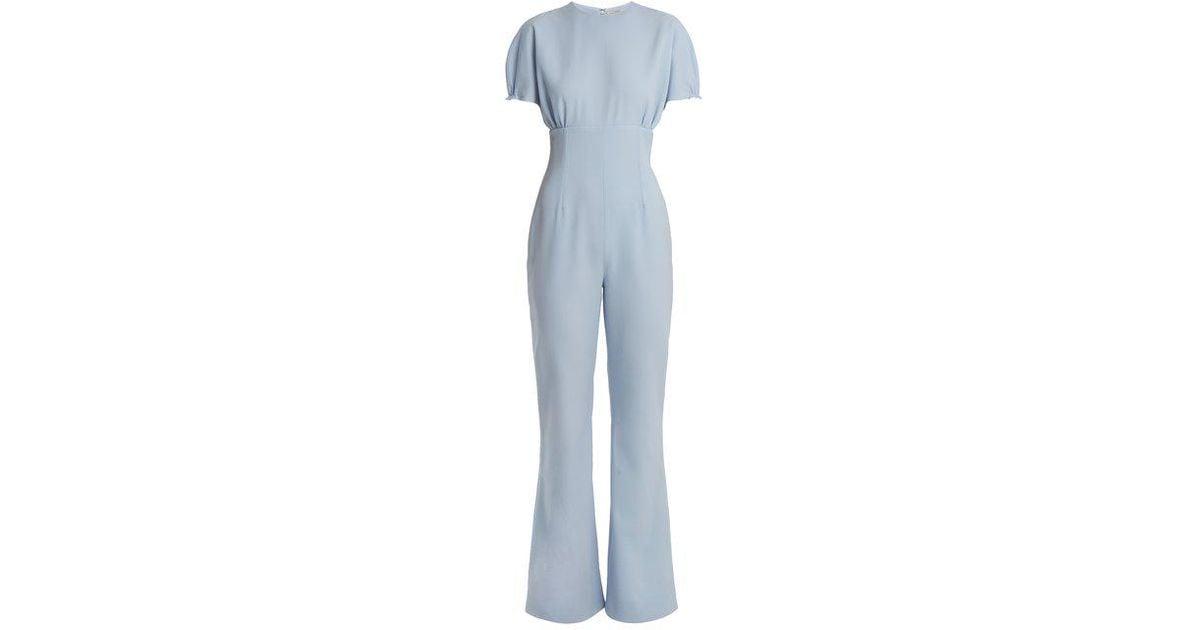3e3d24ac54 Lyst - Emilia Wickstead Cleopatra Crepe Jumpsuit in Blue