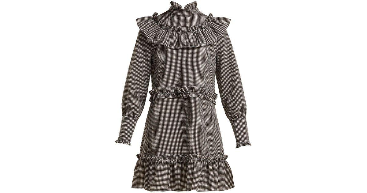 9c146bfd Ganni Charron Gingham Cotton-blend Mini Dress in Brown - Lyst