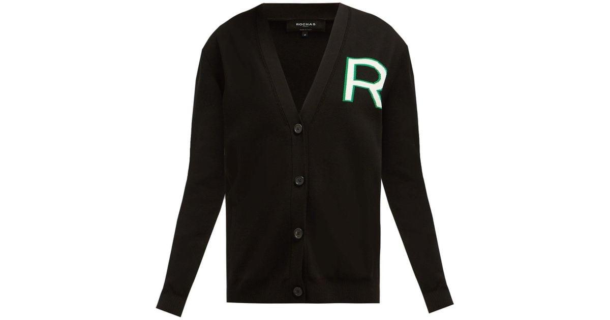 2ceceb1903 Lyst - Rochas Logo Intarsia Knitted Cotton Cardigan in Black