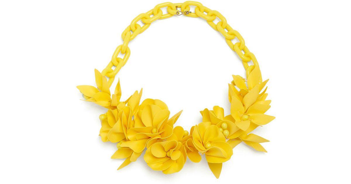 Lyst isabel marant honolulu flower necklace in yellow mightylinksfo
