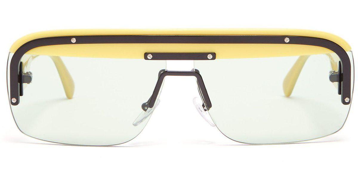 Lyst - Prada Game D-frame Acetate Sunglasses in Yellow for Men