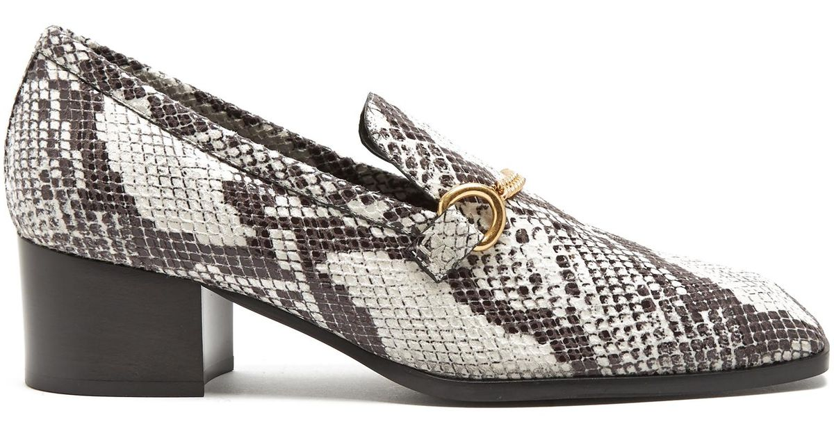 0e8062f6eac Lyst - Stella McCartney Python-effect Faux-leather Block-heel Loafers