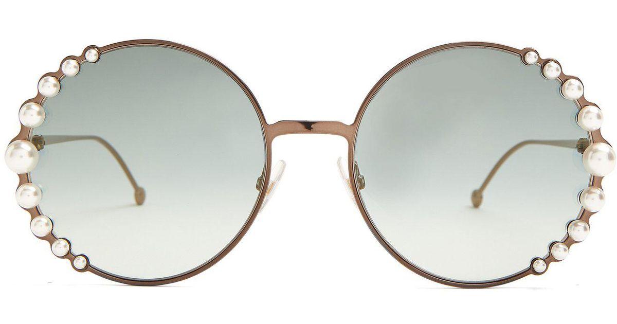 e251ea90447 Fendi - Multicolor Faux-pearl Embellished Round-frame Sunglasses - Lyst