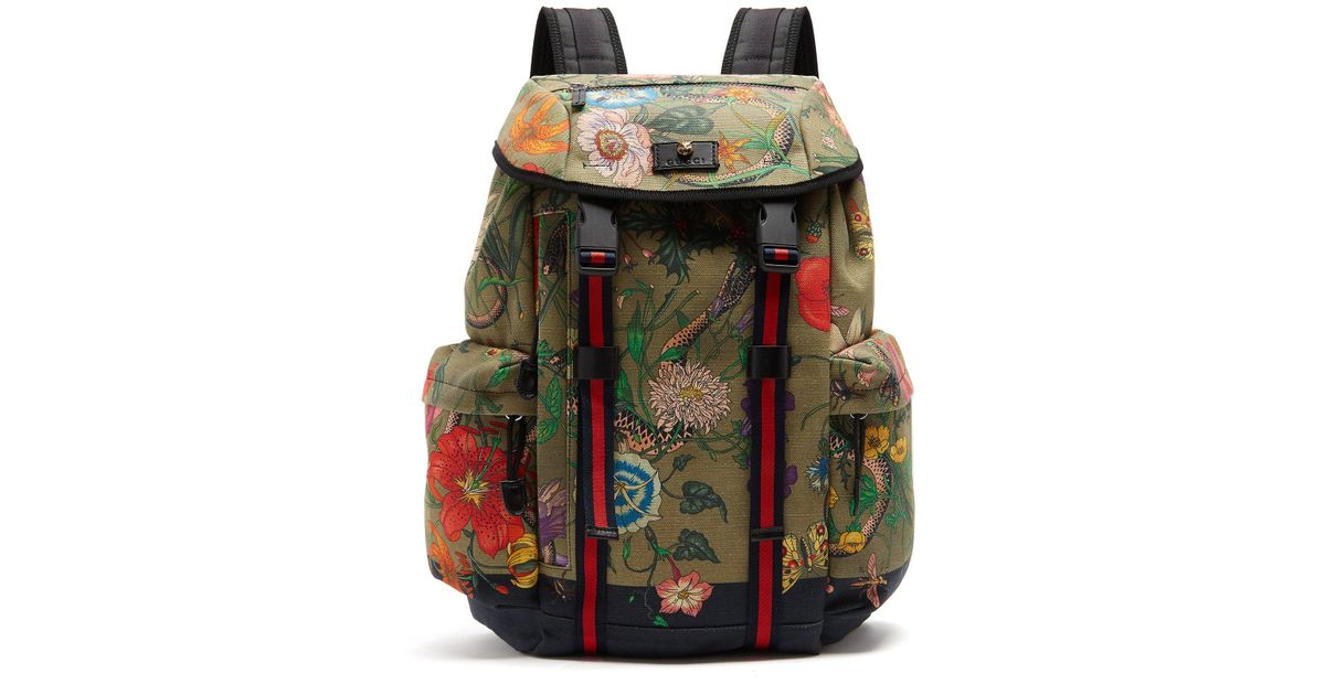 48aba8bb74a072 Gucci Floral Snake Print Backpack for Men - Lyst