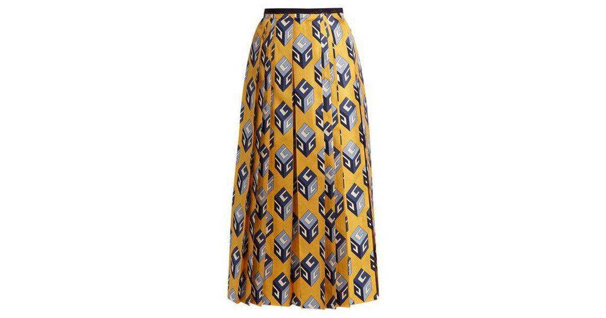 3519c2e4ea3f5d Gucci Gg Wallpaper-print Pleated Silk Midi Skirt - Lyst