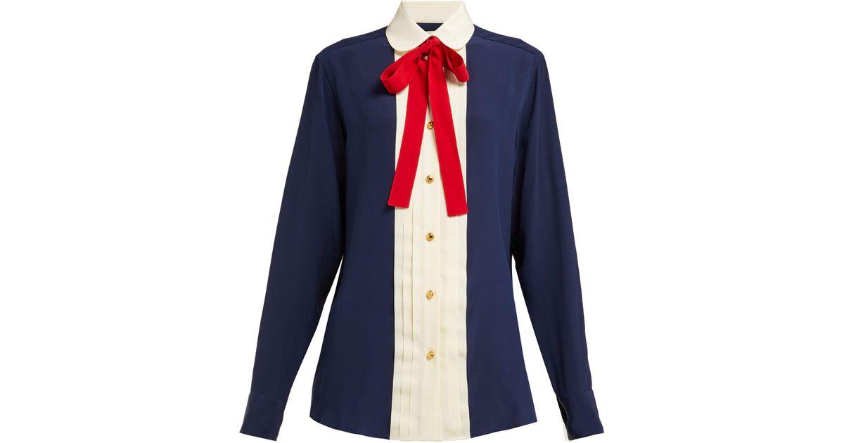 8f859ed2b Gucci Silk Neck Bow Shirt in Blue - Lyst