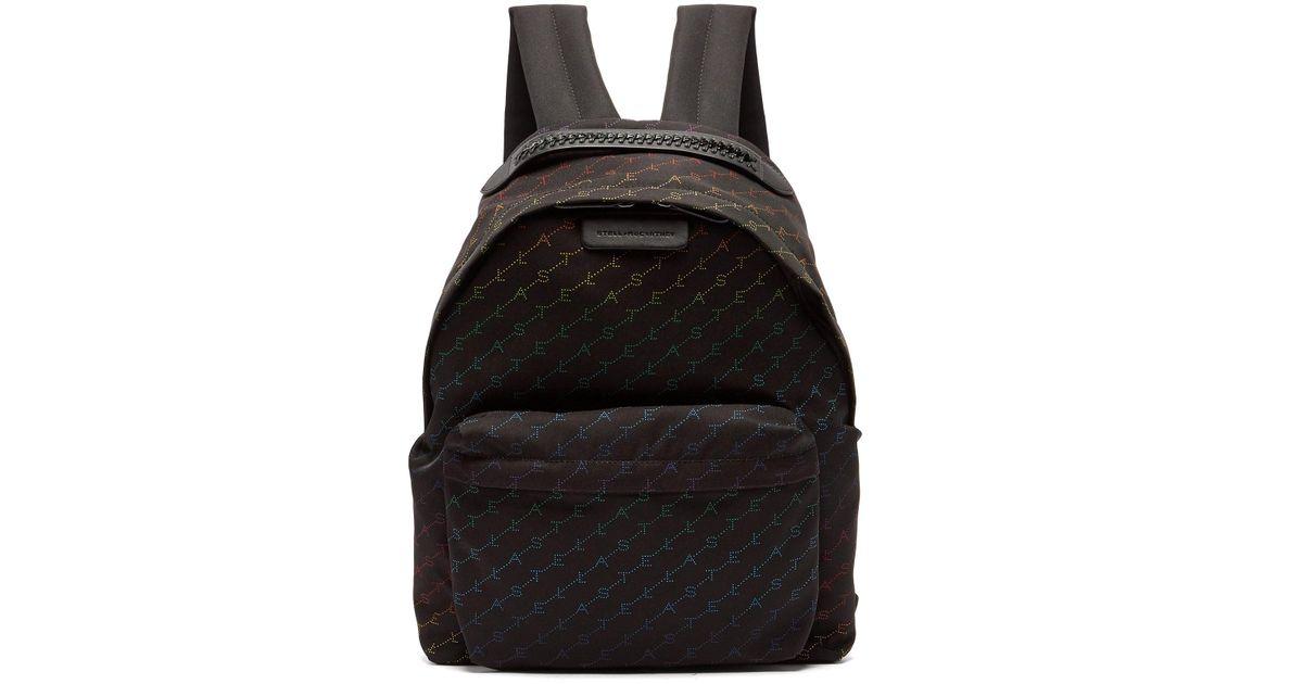 46e011e5ee77 Lyst - Stella McCartney Falabella Rainbow Logo Print Nylon Backpack in Black